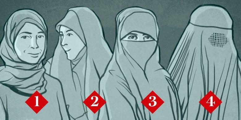Busana wanita Muslim yakani 1). Hijab, 2). Nikab, 3). Cadar, dan 4). Burqa.