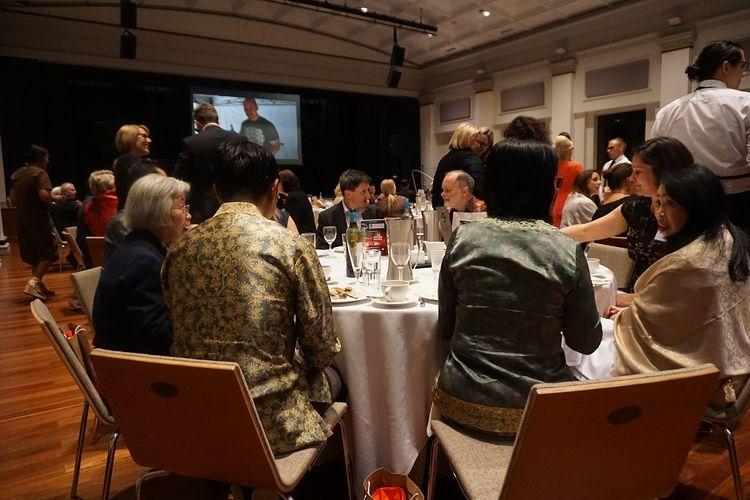 Suasana acara Indonesia-Australia Business Networking Dinner di King George Square Brisbane, Australia, Jumat (18/8/2017).