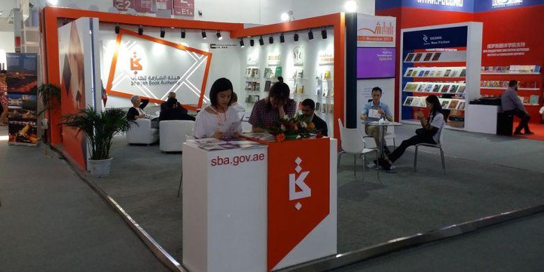 Perusahaan penerbitan buku Sharjah dari Uni Emirat Arab tampil dengan desain stan yang terbuka dalam pameran Beijing International Book Fair 2017 yang berlangsung pada 23-27 Agustus 2017 di Beijing, China.