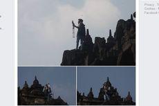 Viral, Foto Seorang Pria Memanjat Candi Borobudur untuk Selfie
