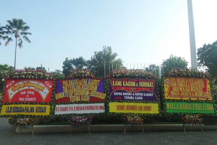 Karangan bunga untuk Ahok dan Djarot di Balai Kota, Selasa (25/4/2017).