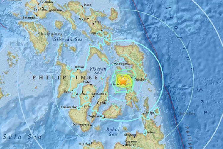 Survei Geologi AS (USGS) mengatakan, gempa berkekuatan 6,5 pada skala Richter berpusat di darat dengan kedalaman 6,5 km, dekat kota Masarayao, Provinsi Leyte, Filipina.