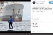 Ketika Menteri Susi 'Paddling' di Dekat Kapal Silver Sea 2