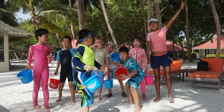 Kegiatan anak-anak di Club Med Kani Maldives, Senin (17/7/2017).