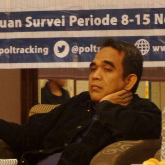 Sekretaris Jenderal DPP Partai Gerindra, Ahmad Muzani pada acara rilis survei Poltracking Indonesia di Hotel Sari Pan Pacific, Jakarta Pusat, Minggu (26/11/2017).