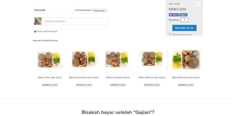 Aneka jenis bakso siap saji yang dijual di Bakso Bejo Korea, lewat website resminya bejokorea.com.