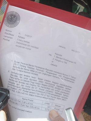 Menteri Pertahanan Ryamizard Ryacudu menegaskan bahwa pembelian 500 pucuk senjata api oleh Badan Intelijen Negara (BIN) dari PT Pindad.  Ryamizard pun menunjukkan lampiran berkas dokumen izin pembelian senjata api yang dikirimkan ke Kementerian Pertahanan pada Mei 2017.