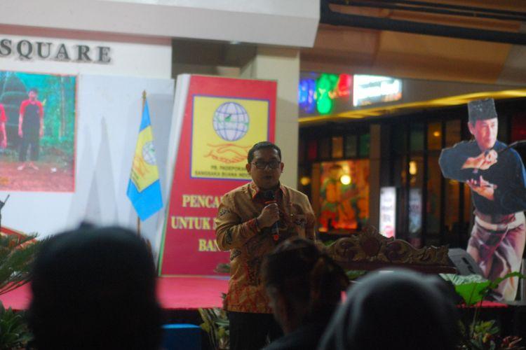 Wakil Ketua DPR RI Fadli Zon saat memberikan sambutan dalam acara Pembukaan Sarasehan dan Festival Pencak Silat Seni Tradisi, di Bogor, Selasa (28/11/2017).