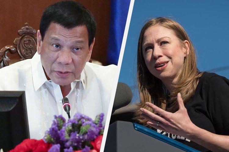 Presiden Filipina Rodrigo Duterte (kiri) dan Chelsea Clinton (kanan)