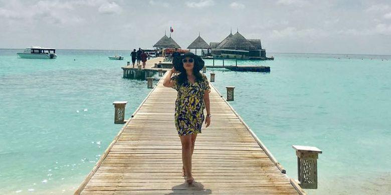 Wisatawan di Club Med Kani Maldives, Sabtu (15/7/2017).