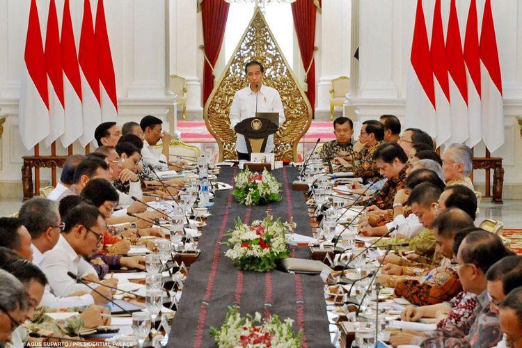 Suasana sidang kabinet paripurna di Istana Merdeka, Jakarta, Selasa (29/8/2017).