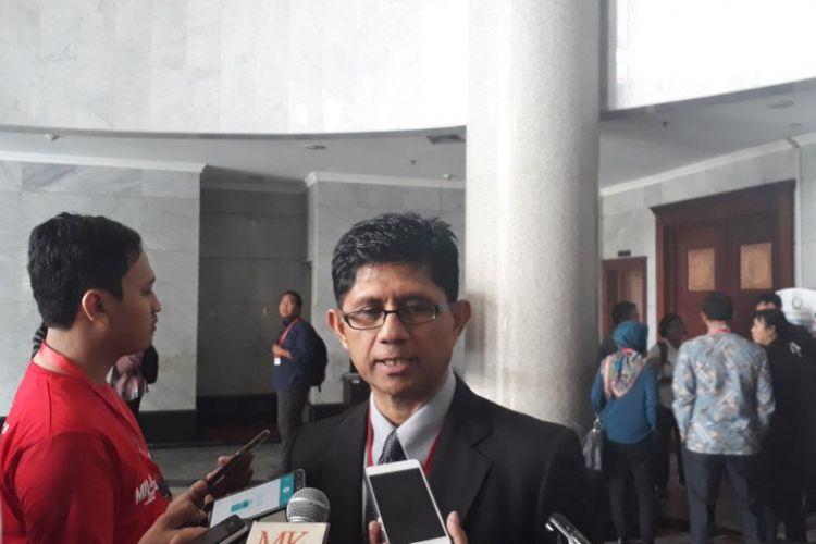 Wakil Ketua Komisi Pemberantasan Korupsi (KPK) Laode M. Syarief saat ditemui di Gedung Mahkamah Konstitusi, Jakarta Pusat, Kamis (28/9/2017).