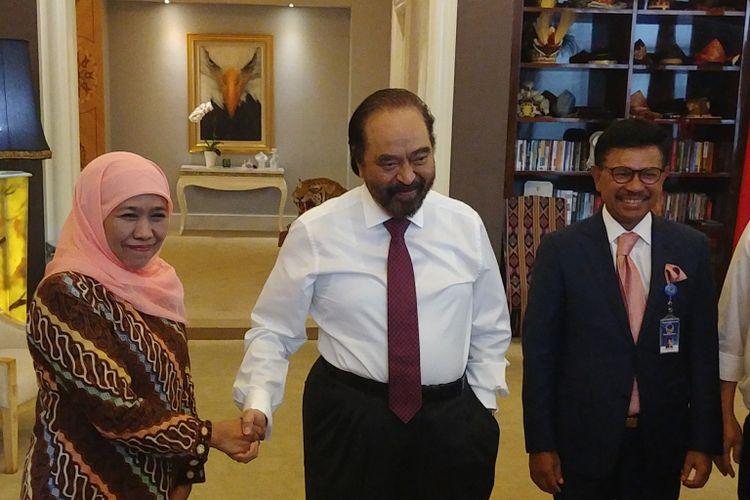 Menteri Sosial Khofifah Indar Parawansa bertemu dengan Ketua Umum Partai Nasdem Surya Paloh, di Kantor DPP Nasdem, Jakarta, Rabu (11/10/2017).