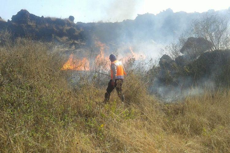Petugas gabungan melakukan pemadaman semak-semak yang terbakar di kawasan Gunung Cikuray yang berada di jalur pendakian, Rabu (13/9/2017) siang.