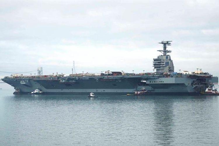 USS Gerald R Ford, kapal induk super milik Amerika Serikat yang akan beroperasi tahun depan.