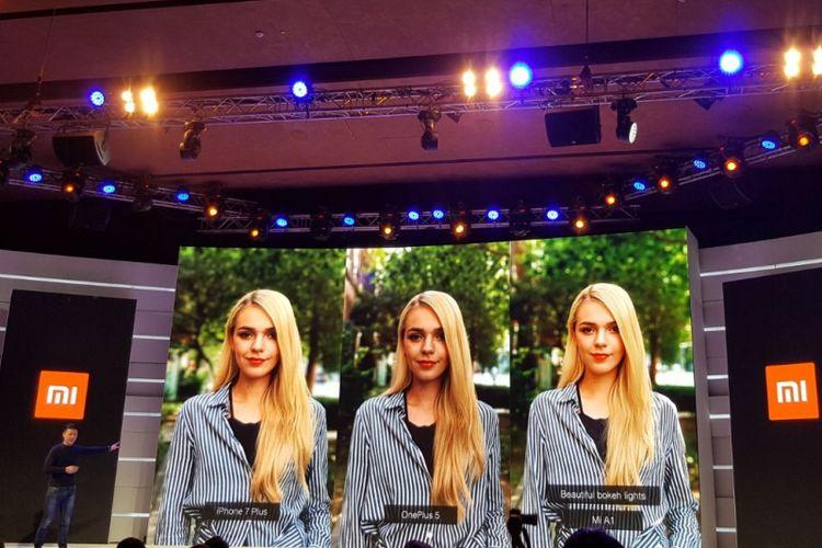 Xiaomi membandingkan hasil kamera (kiri-kanan) iPhone 7 Plus, OnePlus 5, Xiaomi A1.