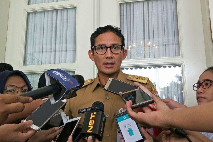 Wakil Gubernur DKI Jakarta Sandiaga Uno di Balai Kota DKI Jakarta, Jalan Medan Merdeka Selatan, Senin (27/11/2017).