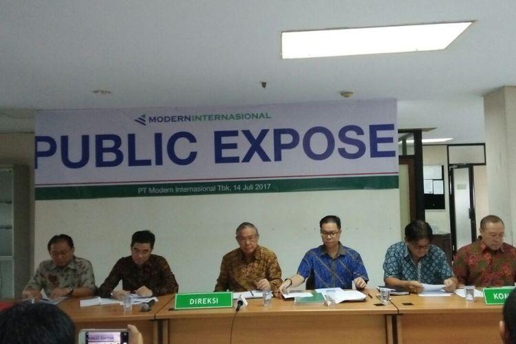 Paparan Publik PT Modern lnternasional Tbk (MDRN) di Jakarta, Jumat (14/7/2017).