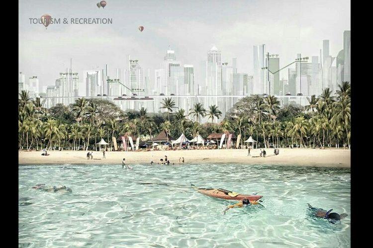 Pariwisata pantai berdampingan langsung dengan lanskap kota dalam konsep reklamasi Jakarta Jaya: The Green Manhattan.