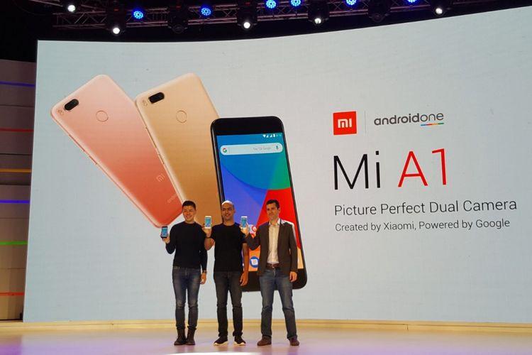 Xiaomi Mi A1 saat diluncurkan secara resmi di India, Selasa (5/9/2017).