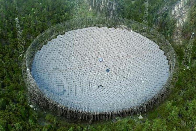 Teleskop radio raksasa yang diberi nama FAST (Five-hundred-meter Aperture Spherical Telescope) di China.