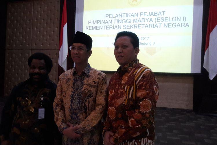 Kepala Sekretariat Presiden Heru Budi Hartono usai dilantik oleh Mensesneg Pratikno, Kamis (20/7/2017).