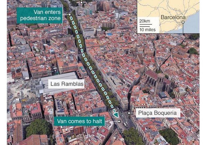 Mobil Van Tabrak Kerumunan Orang di Barcelona, 13 Orang Tewas