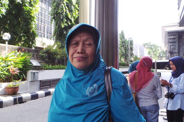 Ummi Suminah, calon jemaah korban penipuan First Travel, saat ditemui di Bareskrim Mabes Polri.