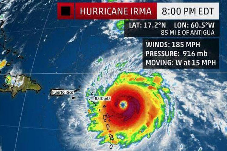 Badai IRMA yang kecepatan anginnya diperkirakan lebih dari 250Km/Jam akan melanda wilayah Amerika Serikat