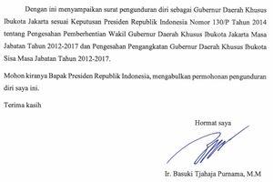 Ini Isi Surat Pengunduran Diri Ahok sebagai Gubernur DKI
