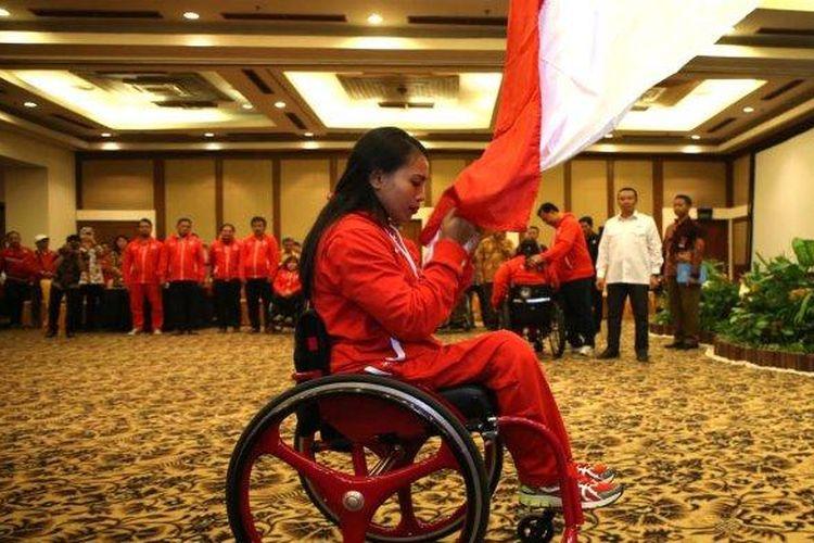 Salah satu atlet paralimpik yang ikut bela Indonesia di Asean Para Games Malaysia