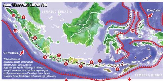 Zona cincin api Indonesia. Melintas di laut Selatan Jawa. www.travel.kompas.com