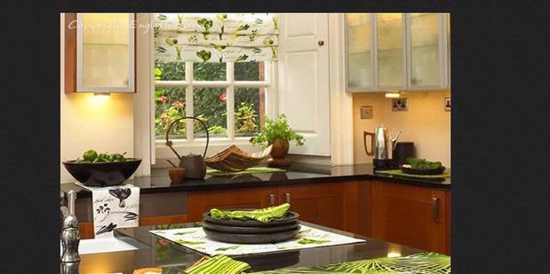 dapur cantik dengan kain properti