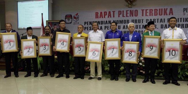 Pengundian nomer urut partai politik peserta pemilu 2014