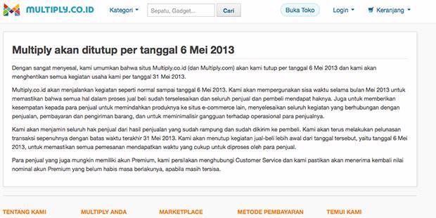 Perhatian !! Situs Multiply Indonesia Akan Ditutup
