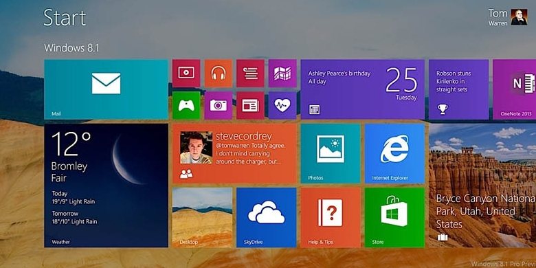 0948585start screen windows 8 1780x390 Ini Dia Tampilan baru Windows 8.1
