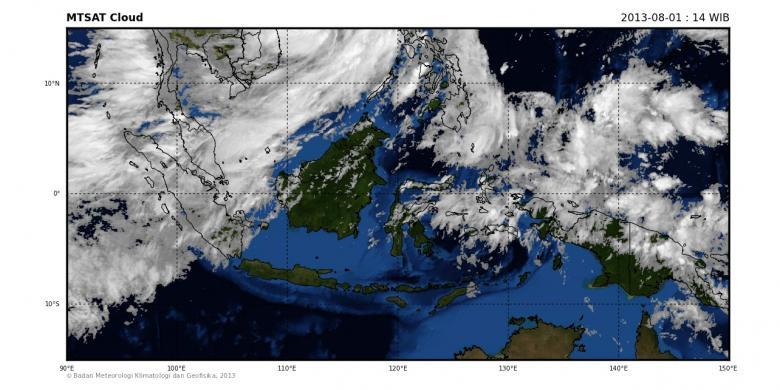 Nasa citra satelit mtsat pada kamis (1/8/2013). citra menunjukkan