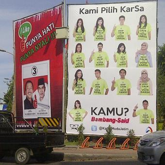 KOMPAS.com/Achmad Faizal Baliho pasangan cagub-cawagub di jalanan Kota ...