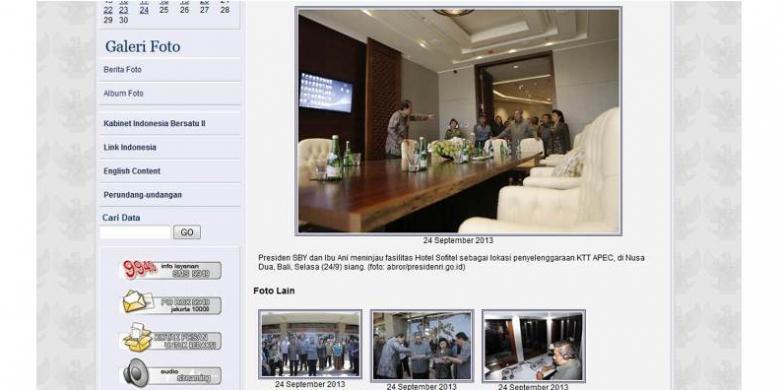 Versi Lengkap Foto CT Tunjuk SBY di Galeri Situs Presiden RI