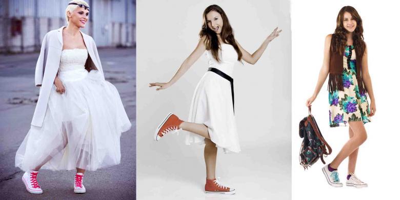 Gaun dan Sneakers, Padanan Fashion yang Fleksibel