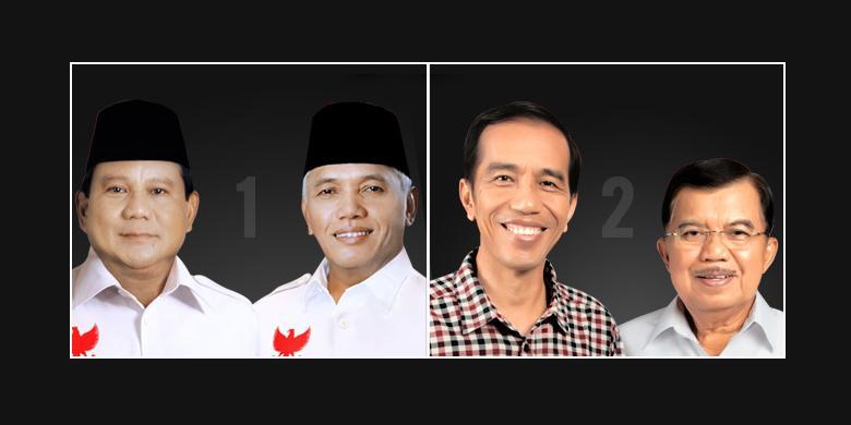 Jokowi-JK mengungguli Prabowo Subianto-Hatta Rajasa berdasarkan hitung cepat 7 lembaga survey