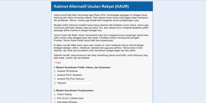 KABINET ALTERNATIF USULAN RAKYAT Jokowi Meminta Publik Berpartisipasi Memilih Menteri untuk Kabinet Periode 2014-2019