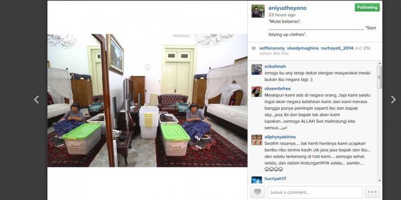 BAKAL TINGGALKAN ISTANA, IBU ANI YUDHOYONO UNGGAH FOTO 'BEBERES'