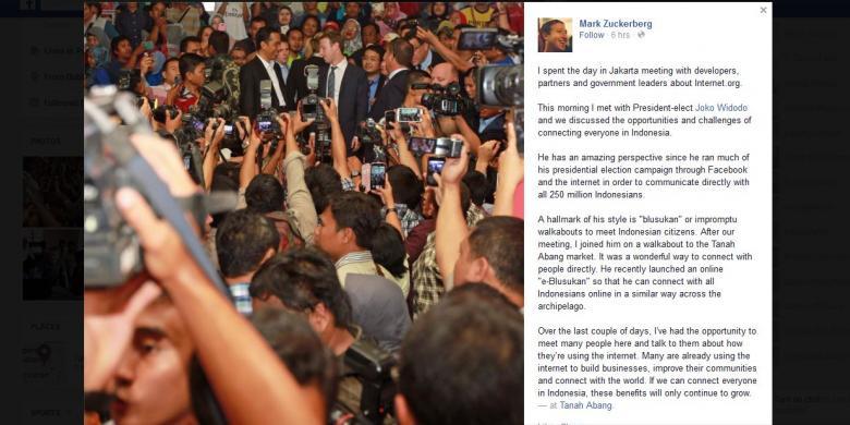 Di Facebook, Mark Zuckerberg Puji Gaya Blusukan Jokowi