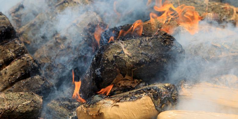 100 Kg Ganja dan 10 Kg Sabu Dibakar di Lampung