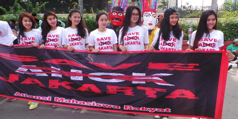 Pertanyakan Slogan Jakarta Baru, Sejumlah Mahasiswi Gelar Aksi Tolak Ahok