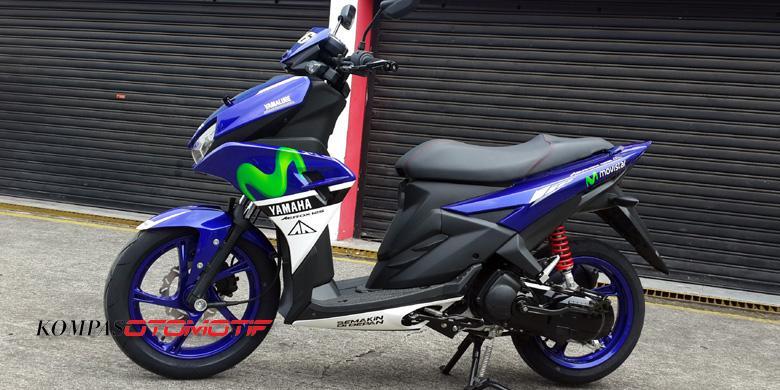 Modifikasi Yamaha Aerox Motif Movistar MotoGPKompasOtomotif Donny Apriliananda