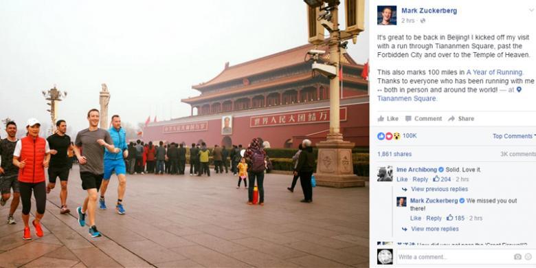 "Foto Bos Facebook ""Jogging"" Di China Menuai Cibiran"