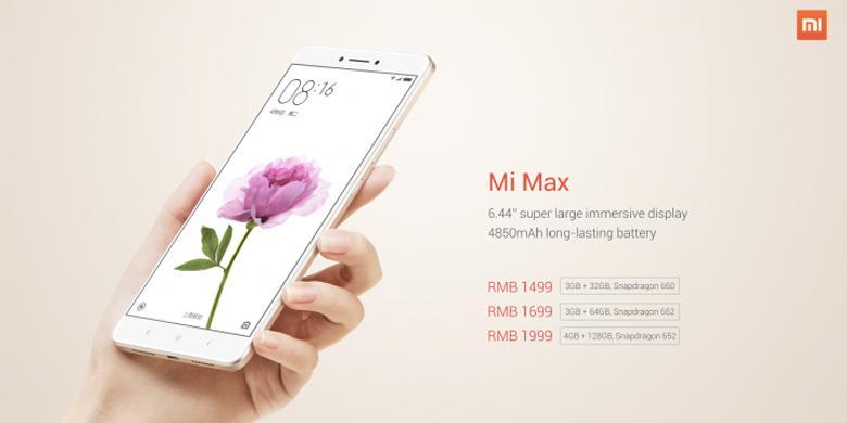 Xiaomi Resmi Rilis Mi Max, Punya Layar Berukuran Jumbo