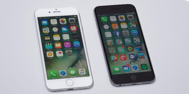 Perbandingan tampak depan iPhone 7 dan 6S  Kompas.com